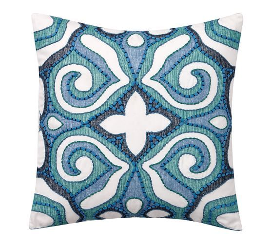 Athena Embroidered Pillow Cover | Pottery Barn