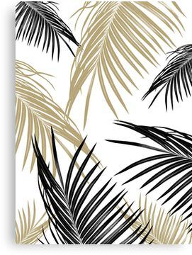 Gold Black Palm Leaves Dream #1 #tropical #decor #art Canvas Print