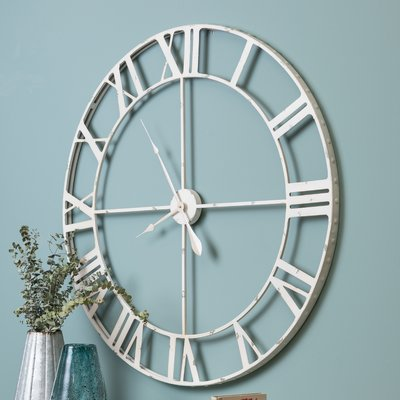 Williston Forge Oversized Wisser 39 Wall Clock Wall Clock Oversized Wall Clock Silver Wall Clock