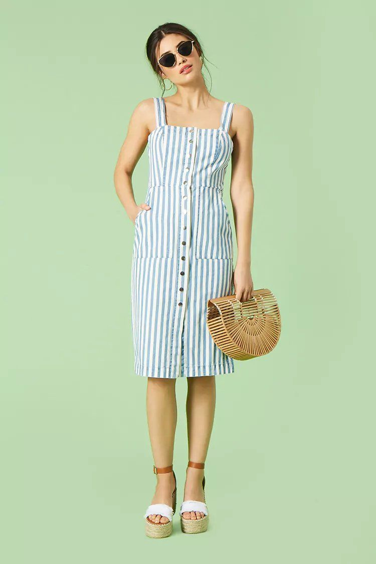 Striped Button Front Dress Forever21 Fashion Dresses