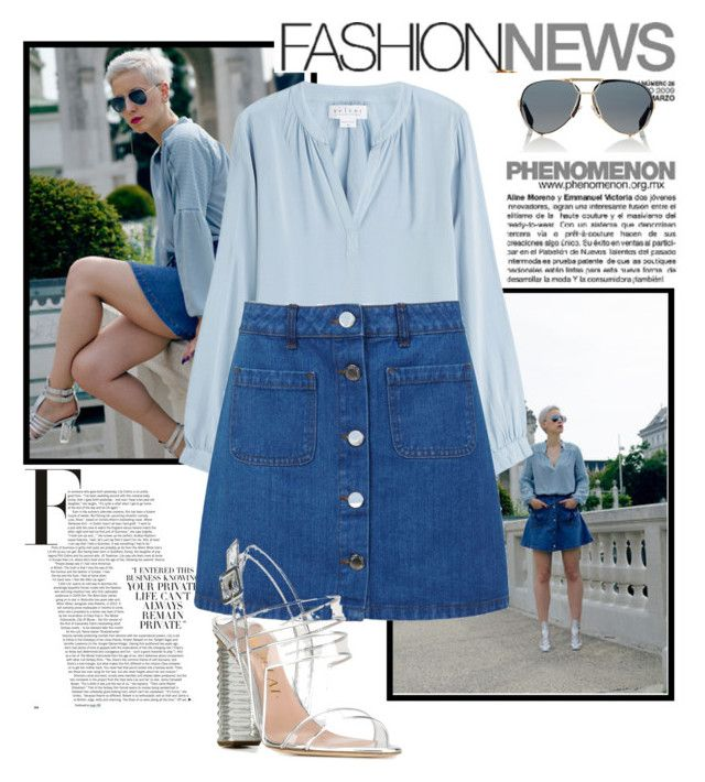 """This Curvy Fashionista Nailed it: The Denim Skirt"" by two-faced-honey ❤ liked on Polyvore featuring Givenchy, Velvet, Miss Selfridge, Aperlaï, denim and denimskirt"