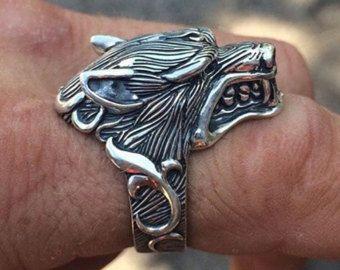 888cad8b3cbd Lobo anillo plata 925 anillo anillo para hombre Biker anillos Goth ...