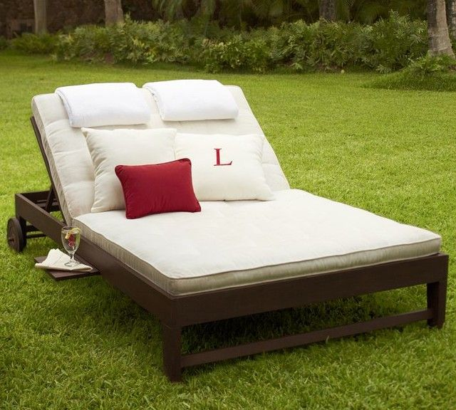 traditional double chaise lounge with cushions for outdoor : patio double chaise lounge - Sectionals, Sofas & Couches