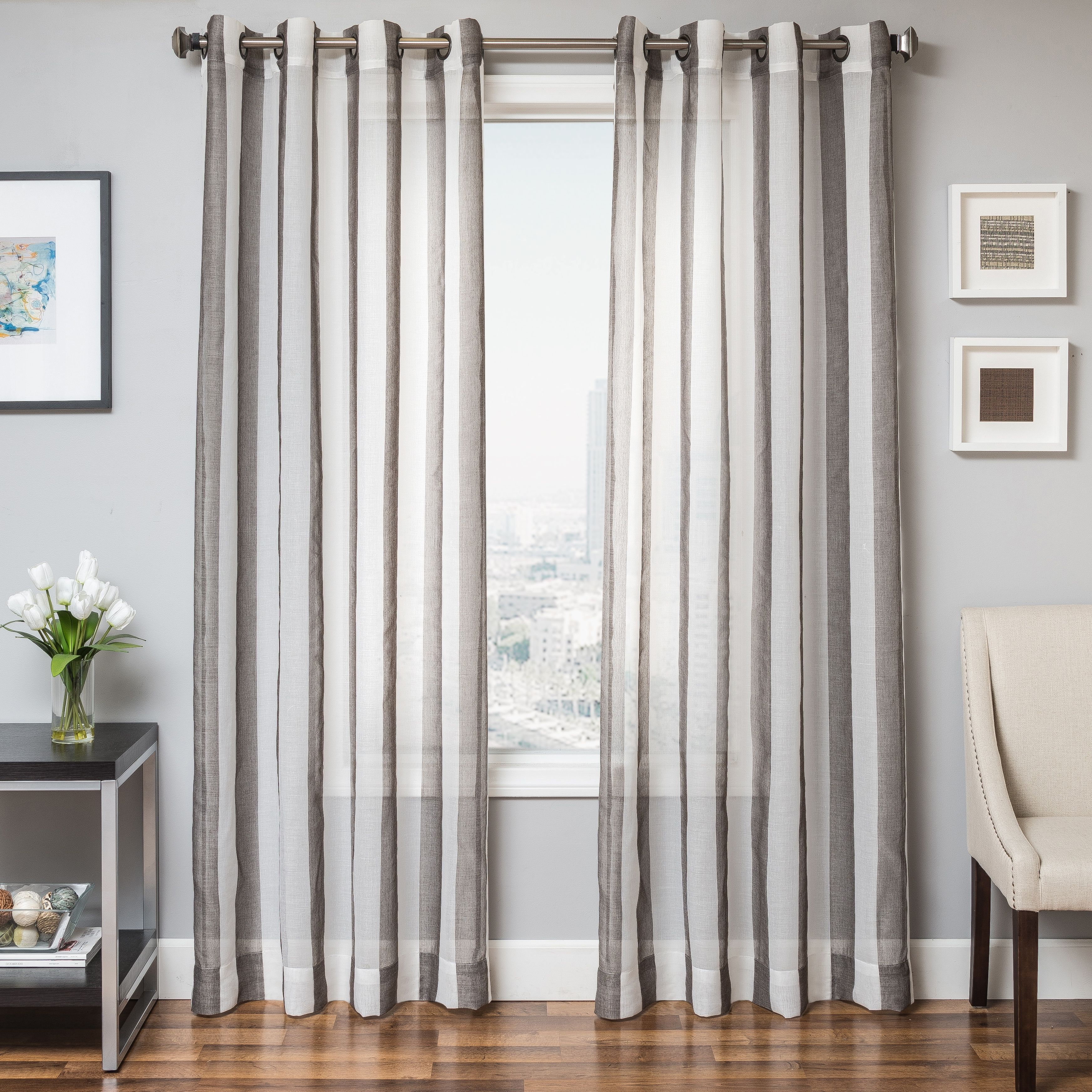 Harbor 96 Sheer Panel Curtain Slate Curtains Panel Curtains