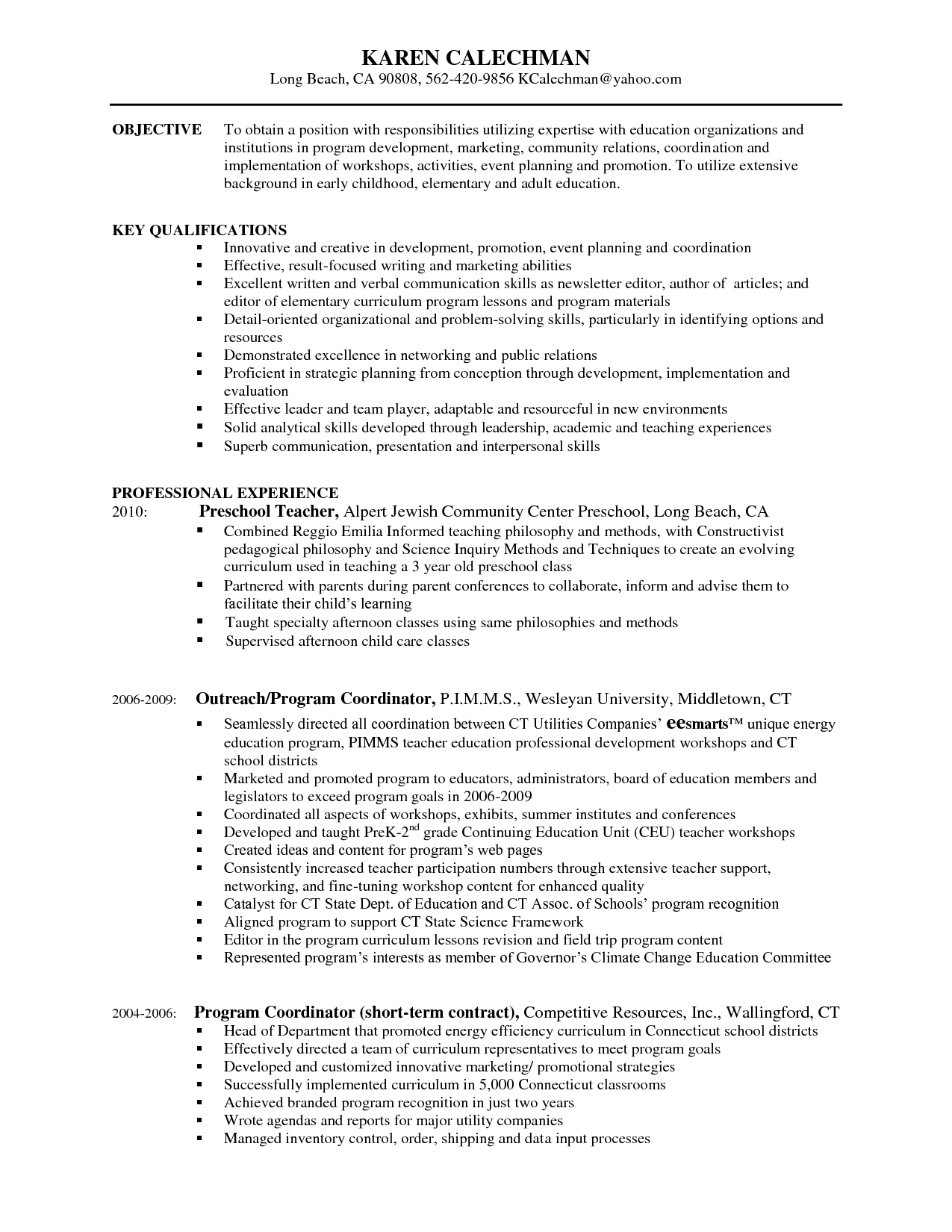 Resume For Preschool Teacher Educational Leader Resume Objective Sample Skills After School