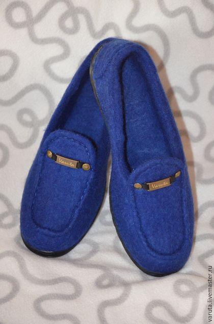 Обувь ручной работы. Ярмарка Мастеров - ручная работа. Купить Женские  валяные туфли-мокасины. Handmade. Тёмно-синий 7ecdb5509e7