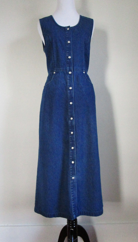 b06b4dea182 90s Denim Dress Button Front Jean Dress Talbots Vintage Denim Dress Jean  Jumper Sleeveless Dress Long Denim Dress 90s Denim Style by WashedCloth on  Etsy