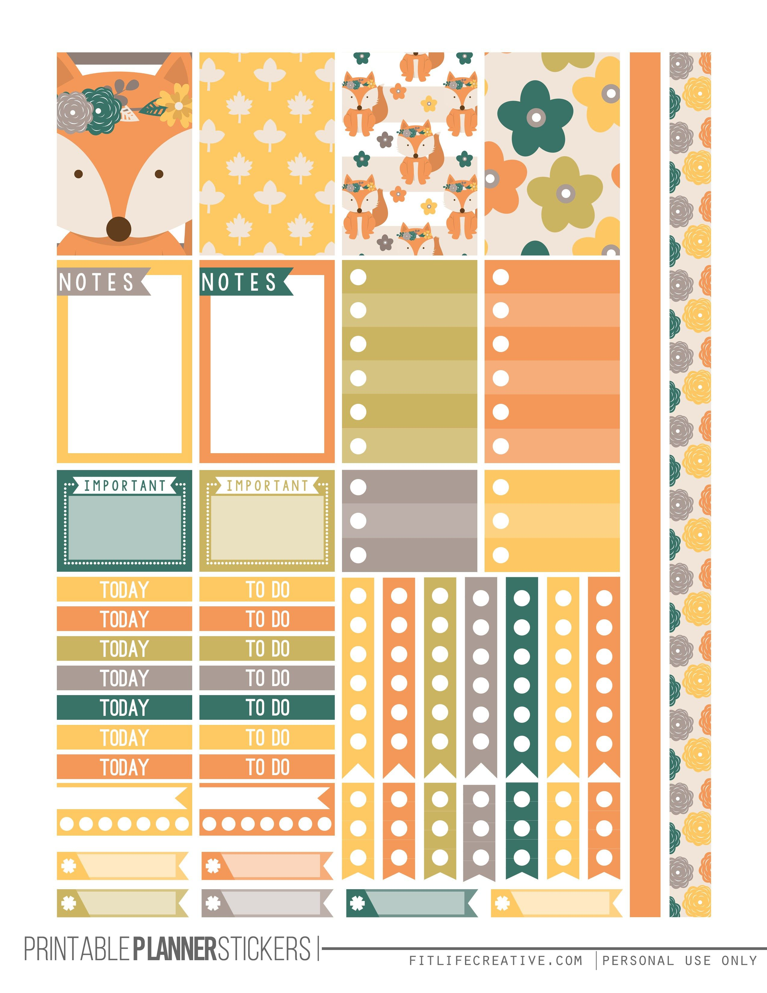 Fall fox printable planner stickers agendas diy