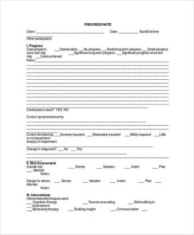 Therapy Progress Note Template  Lpc    Notes Template