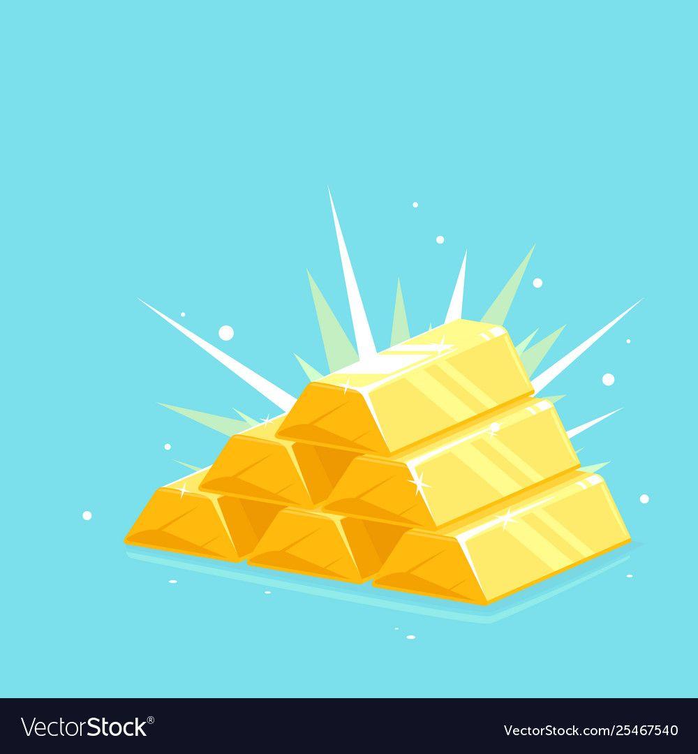 Precious Shiny Gold Bars Stacked Pyramid Vector Image Sponsored Gold Bars Precious Shiny Ad Fish Vector Cartoon Art Vector Images
