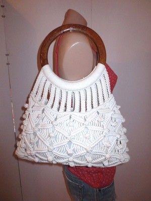 Vintage Hand Made Macrame Rope Purse W Wood Ring Handles Boho Hippie Hippie Boho Vintage Hippie Crochet Bag