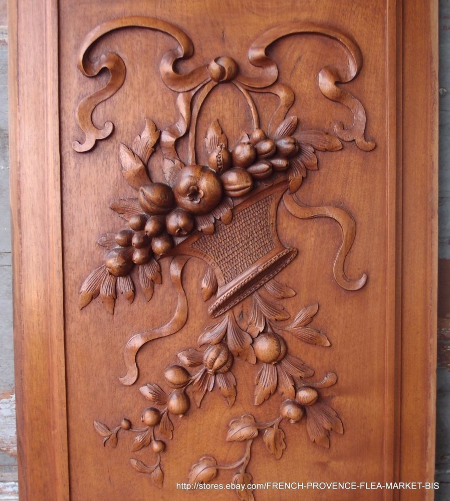 Bow flower basket panel in antique french hand carved wood