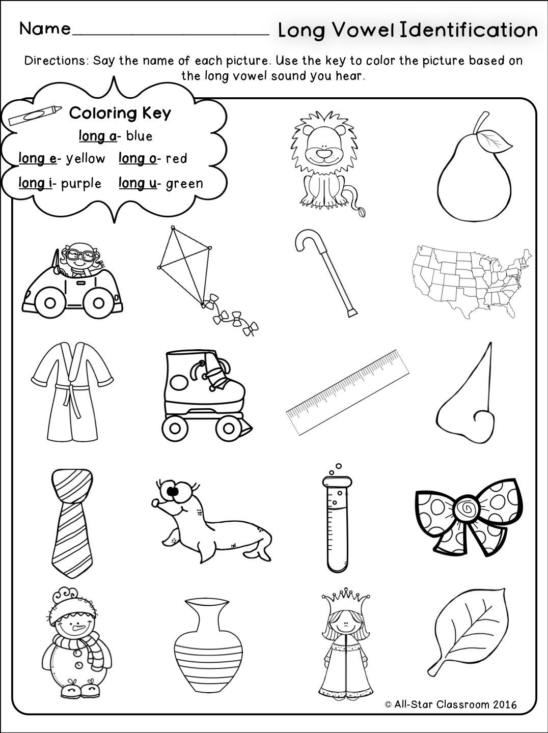 Long Vowels Identification Printables Amp Sorts