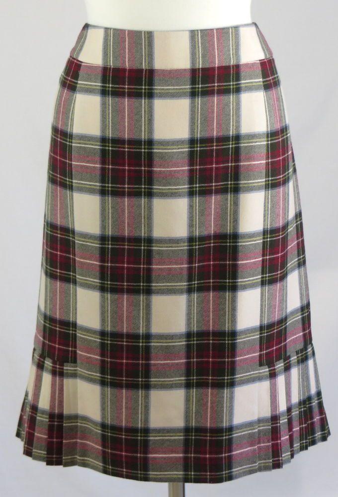 7de88b635a Brooks Brothers 346 Womens Lined Skirt Plaid Red Green Cream 100% Wool  Pleats 16