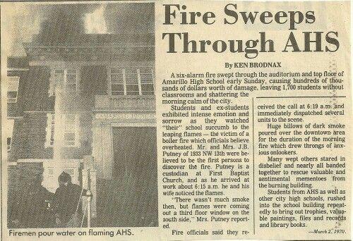 Amarillo High School Fire 1970. School closed in 1973 and was rebuilt in  Southwest Amarillo
