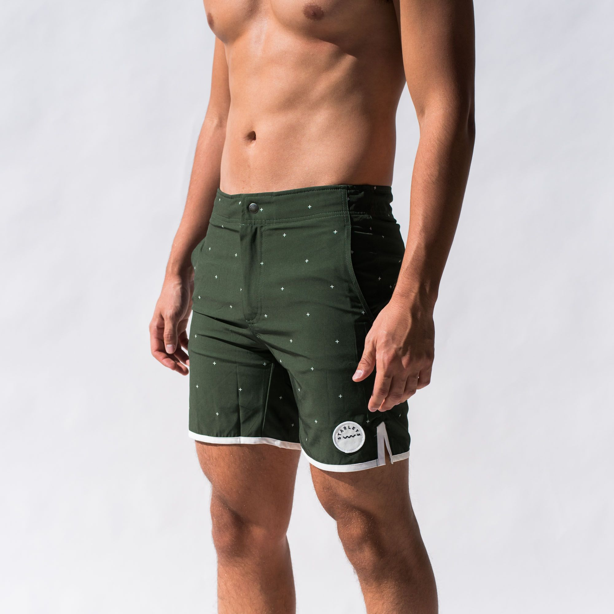 8b1ecc590a0 Mens quality swimwear, mid century modern inspired board shorts with four  way stretch (extra comfortable) fabric, modern trim fit and a shorter  length.