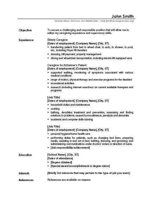 Elderly Care Resume Resume Sample