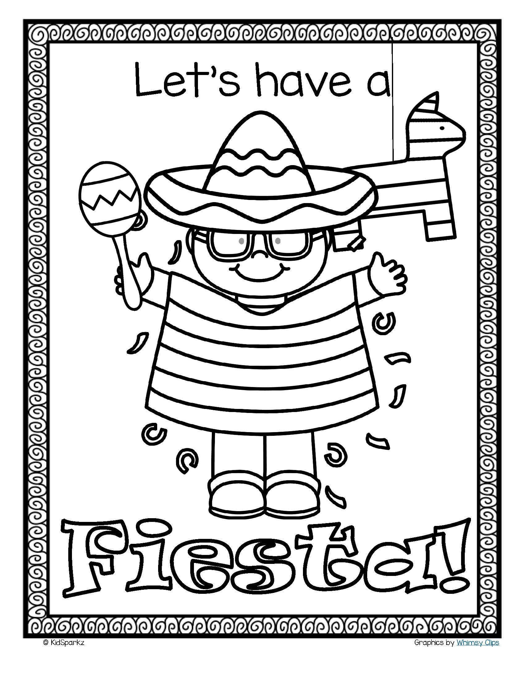 Cinco De Mayo Kindergarten Worksheets Free Cinco De Mayo Or Fiesta Poster In B W In 2020 Cinco De Mayo Cinco De Mayo Activities Mexican Crafts Kids