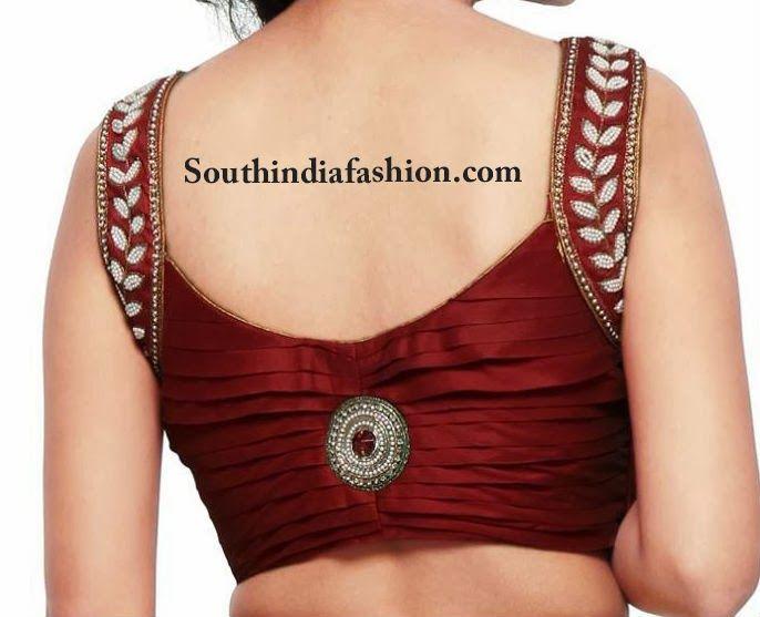 Stylish Pearl Embellished Blouse – South India Fashion