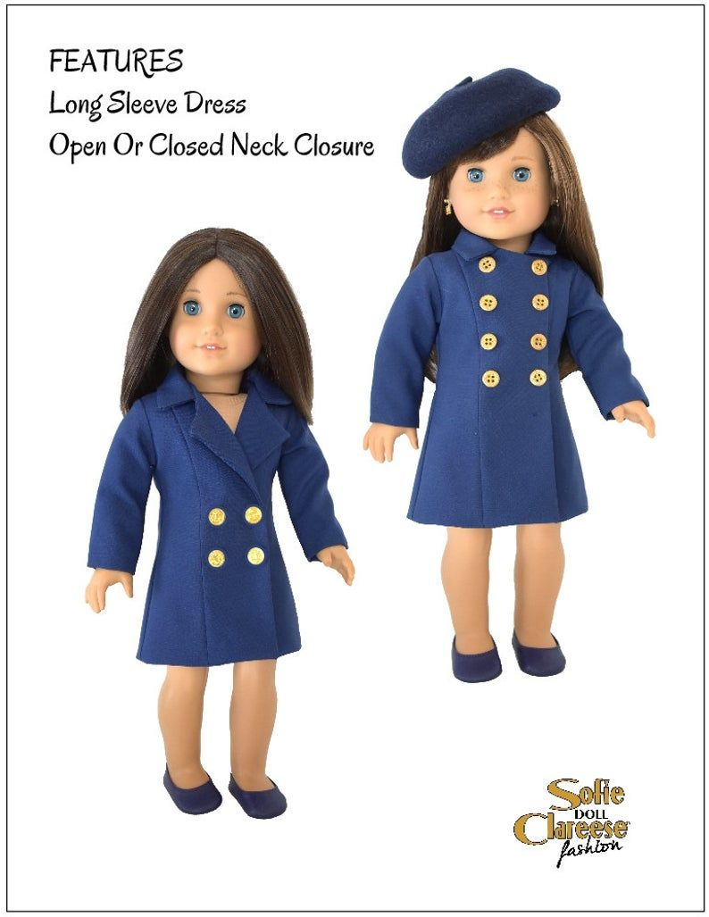 18 inch Doll Clothes Sewing Pattern-Sofie's Coat Dress-Digital PDF by Sofie Clareese Doll Fashion #18inchdollsandclothes