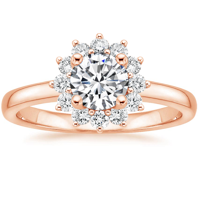14K Rose Gold Sunburst Diamond Ring (1/4 ct. tw.)