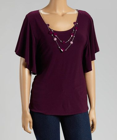 Another great find on #zulily! Plum Necklace Cape-Sleeve Top - Plus by Star Vixen #zulilyfinds