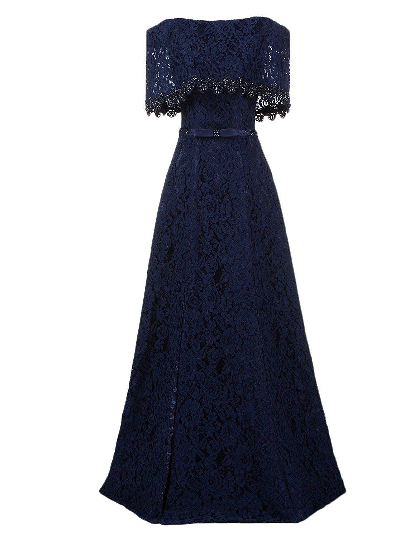 Ysmei womenus vintage boateau long evening prom dress slit lace