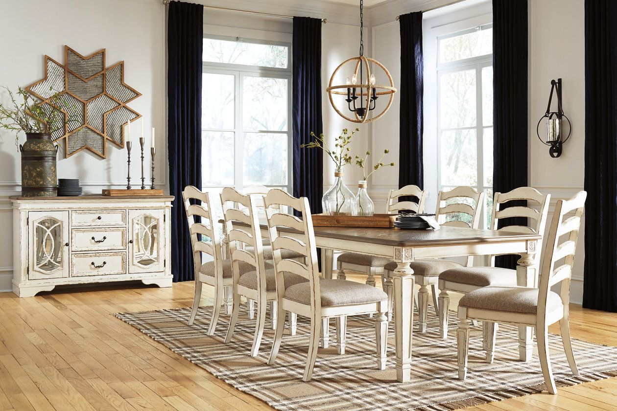 Realyn Dining Table And 8 Chairs Set Ashley Furniture Homestore In 2020 Rectangular Dining Room Set Dining Room Server Rectangular Dining Table