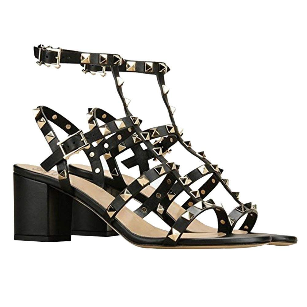 6a447f6c6 Amazon.com | Comfity Sandals for Women, Rivets Studded Strappy Block Heels  Slingback Gladiator Shoes Cut Out Dress Sandals | Heeled Sandals