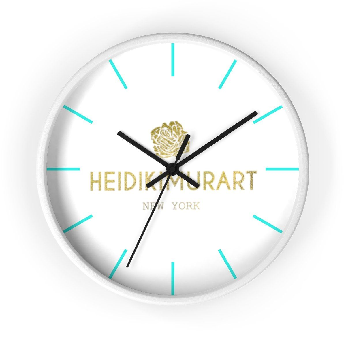 Heidi Kimura Art In Gold Foil Color 10 Inch Diameter Wall Clock Made In Usa Wall Clock How To Make Wall Clock Clock