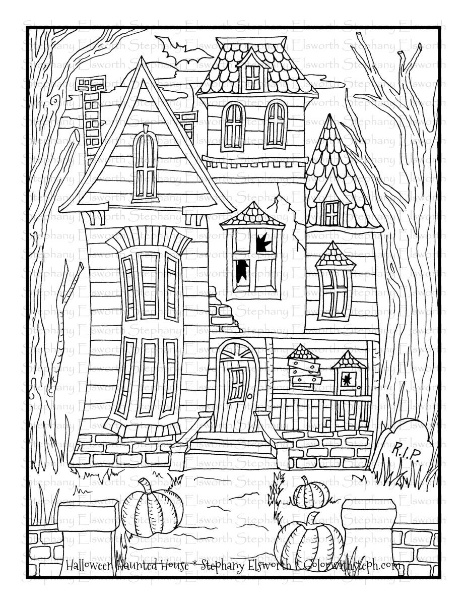 Halloween Haunted House Free Printable Coloring Page Color With Steph Free Halloween Coloring Pages Halloween Coloring Sheets Witch Coloring Pages