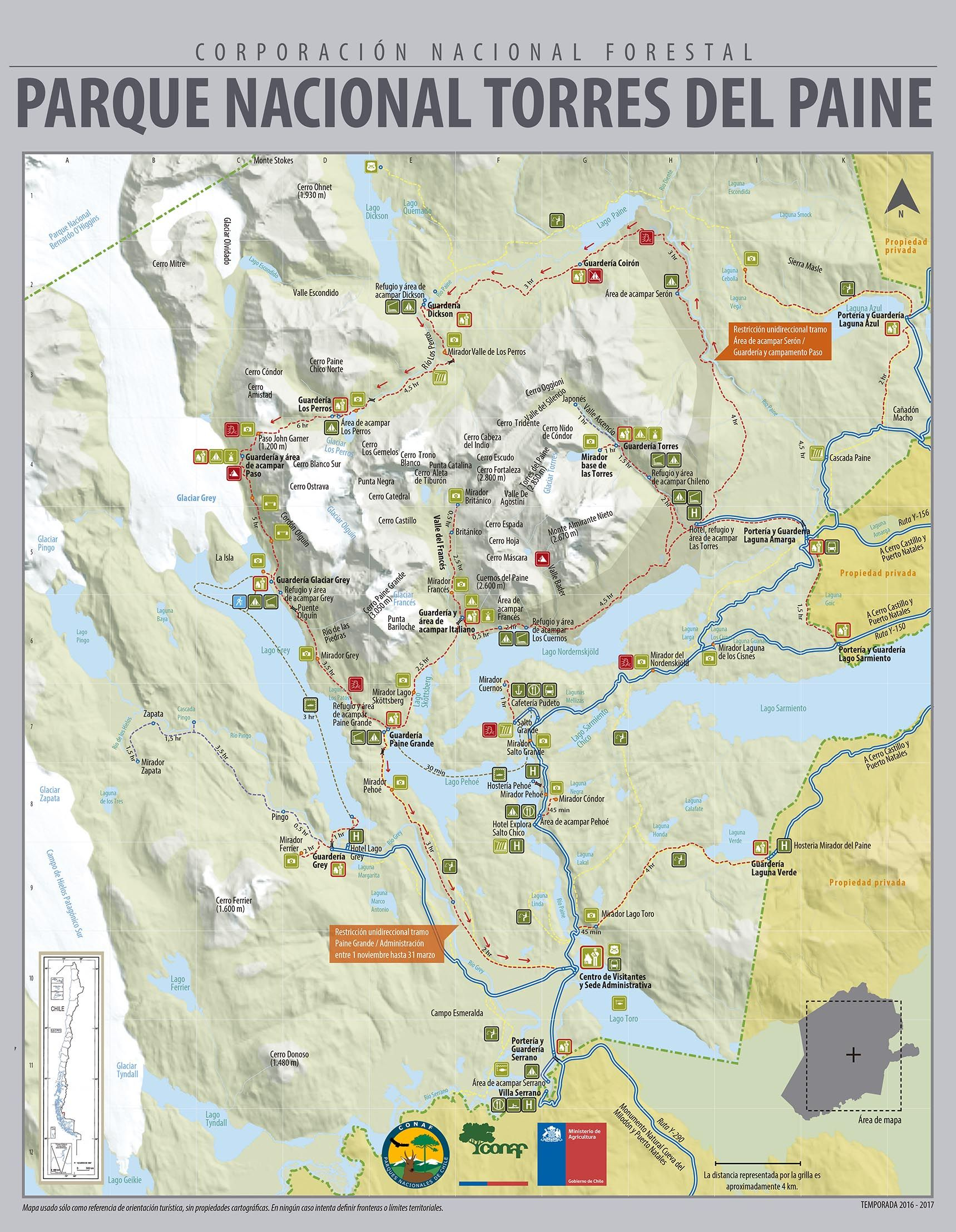 Circuito W Torres Del Paine Mapa : National park torres del paine backpacking camping