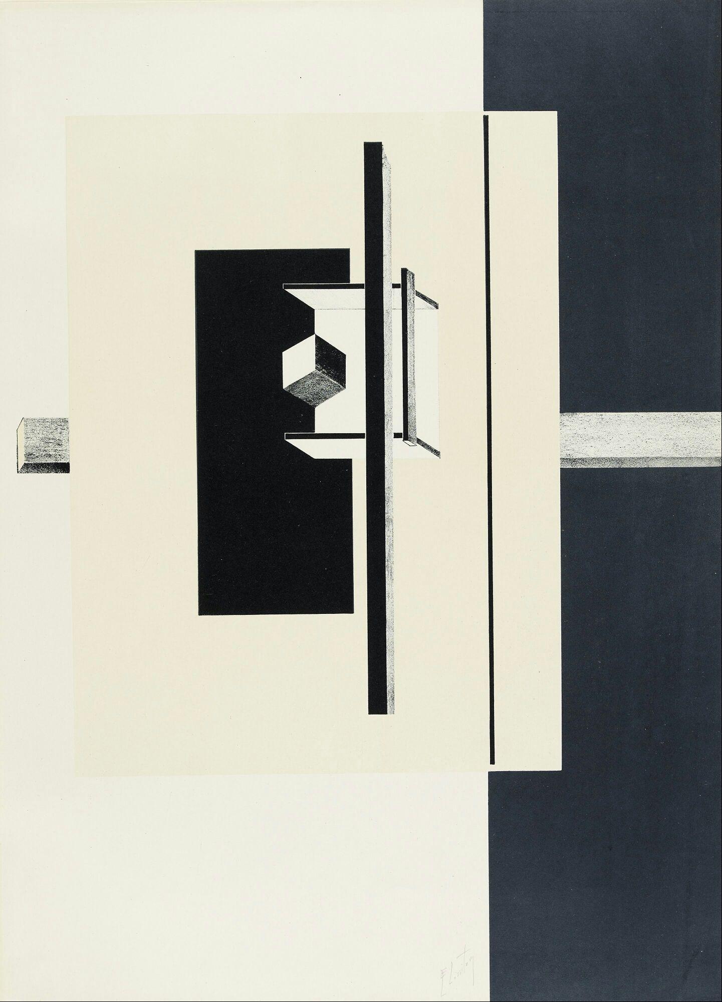 El Lissitzky, 절대주의 /  좌우 흑과백의 대비, 포지티브 네거티브가 명확하여 강한 인상을 주었습니다. 큰 면적 요소로 다소 단순해 보일 수 있는 구성을 가운데의 디테일 한 요소들로 보완 할 수 있을 것 같아 선택했습니다. 입체적 요소와 평면적 요소를 적절히 사용하여 재미있는 구성을 해 볼 수 있을 것 같습니다.
