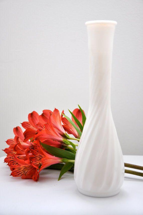 Vintage Hoosier Milk Glass Bud Vase White Glass Number 4094