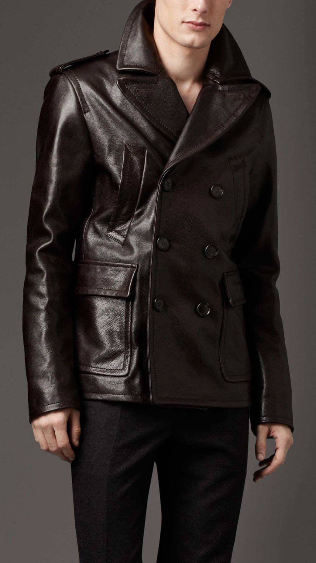 Burberry Dark Leather Pea Coat White Leather Jacket Outfit Winter White Leather Jacket Outfit Leather Jacket Men [ 1849 x 1040 Pixel ]