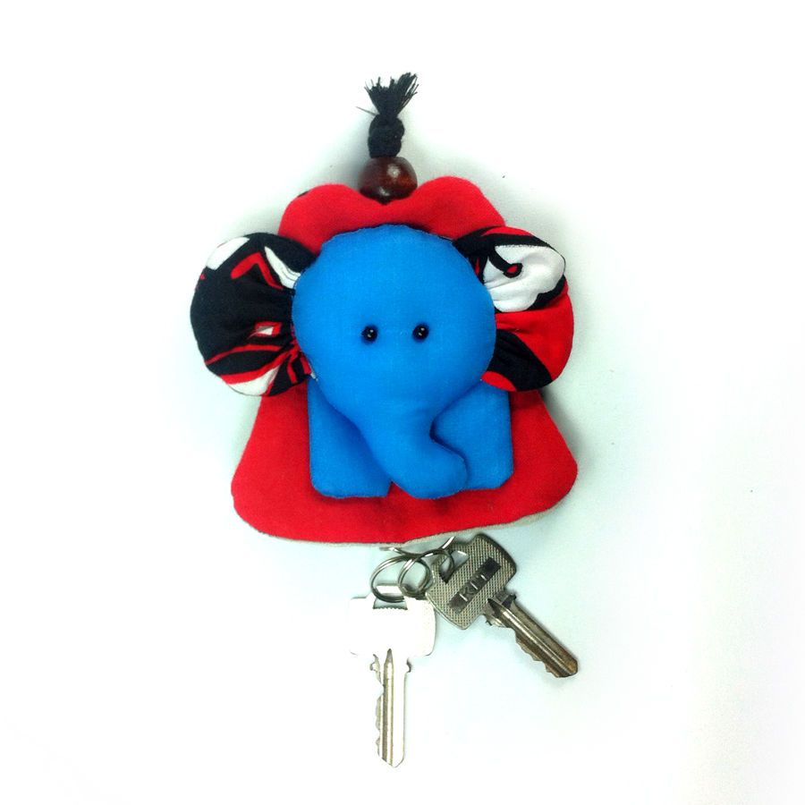 NEW PRETTY MULTI COLOR FABRIC HANDCRAFT ELEPHANT KEYCHAINS KEY CAP COVER