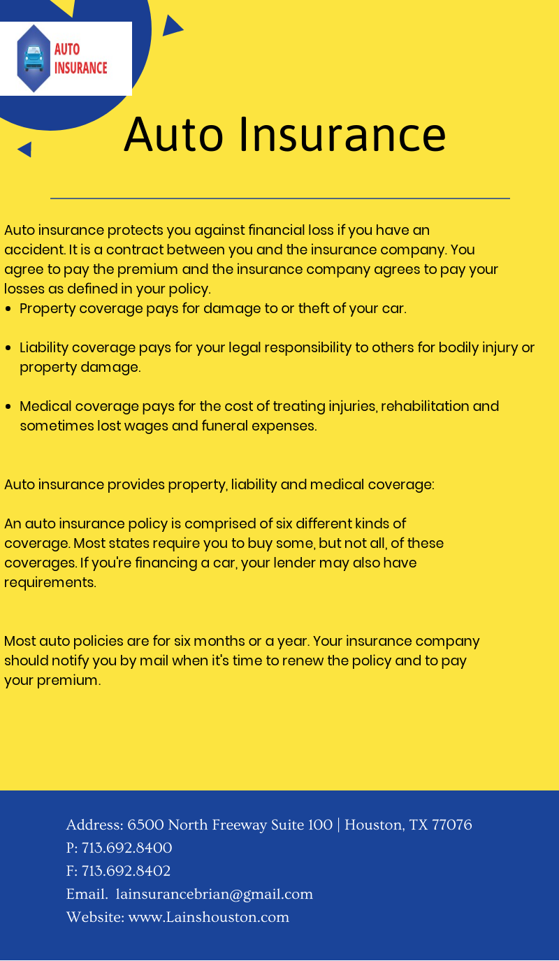 Auto Insurance Protects You Against Financial Loss If You Have An