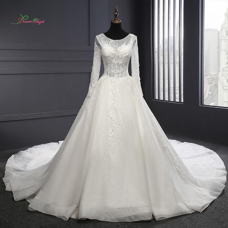 Dream Angel Vestido De Noiva Long Sleeve Lace Wedding Dresses 2018 Sexy Illusion  Appliques Beaded Flowers A Line Bride Gown  bridalgowns ... c913b802b221
