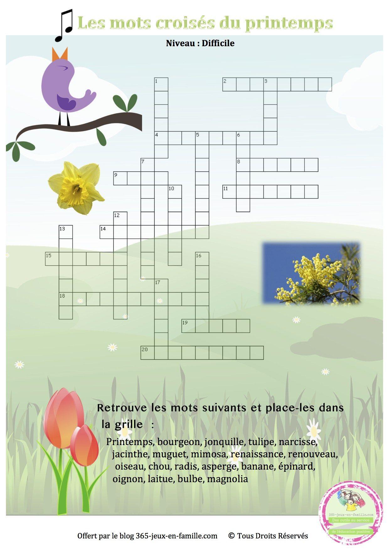 Jeu gratuit jeu imprimer jeu pour le printemps mots crois s du printemps printemps - Mots croises grille quotidienne ...