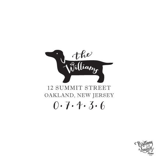 Wedding Gifts For Dog Lovers: Dachshund Dog Address Stamp, Breed Stationery Personalized