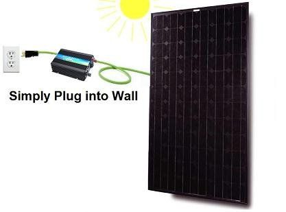 When The Sun Shines The 120 Watt Solar Panel Will Produces Dc Voltage And The Grid Tie Inverter W Solar Power Kits Solar Panels Solar Energy Panels