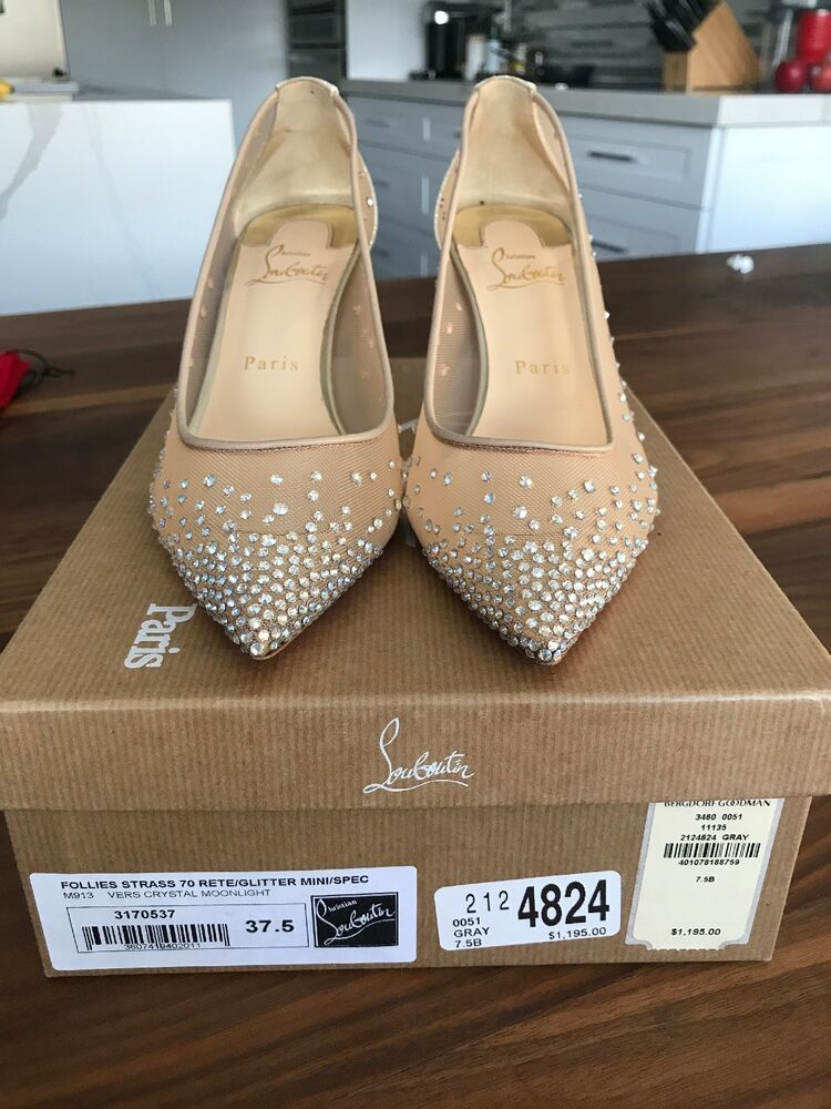 bf2bd426ffd9 ENDING SOON  Christian Louboutin Follies Strass Mesh Glitter W  Box And Linen  Bags  shoes  designer
