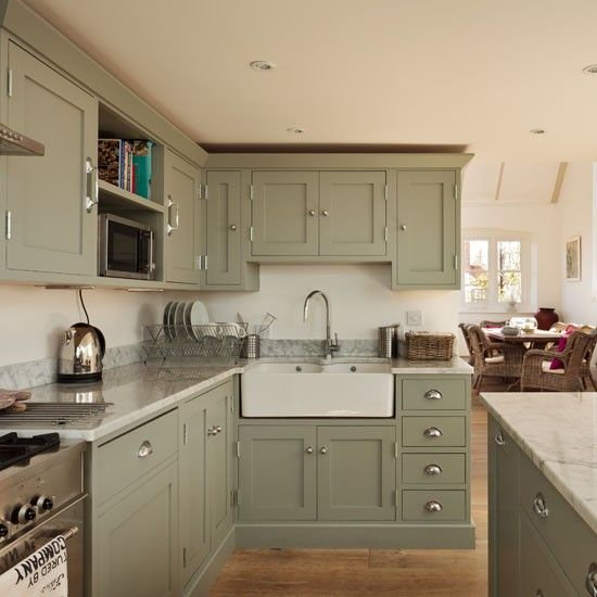 Green Kitchen Cabinets Images: Renovated Schoolhouse To Family House