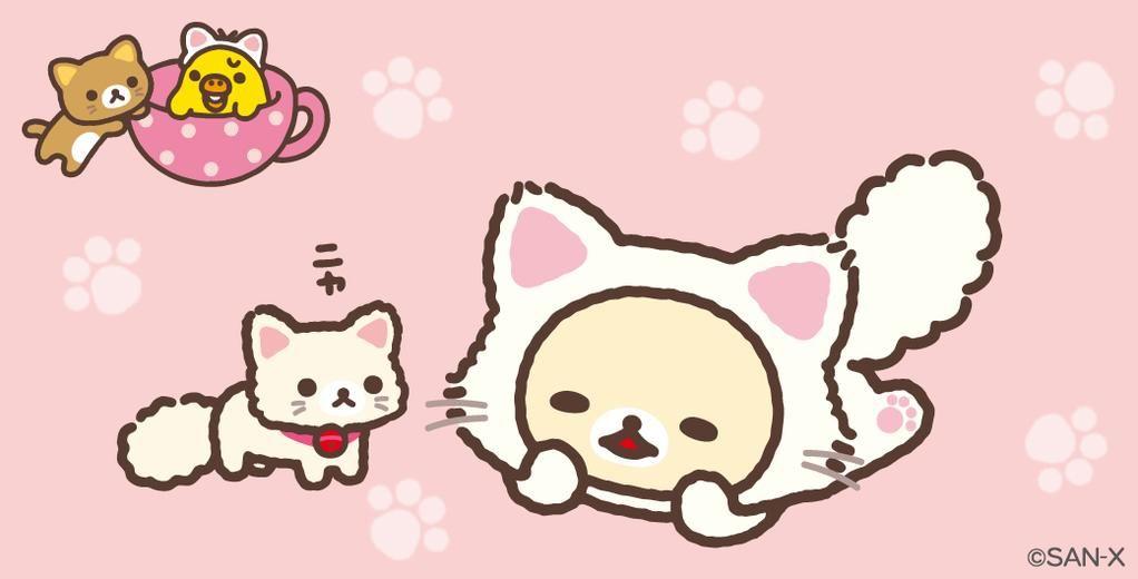 コリラックマは白い子ネコとなかよくなったみたい茶色い子ネコはキイロイトリが気になるのかな? #のんびりネコ