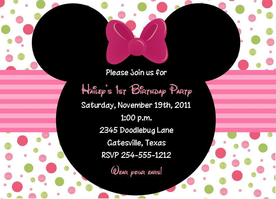 24 Minnie Mouse Birthday Invitations   Baby girl birthday ideas ...