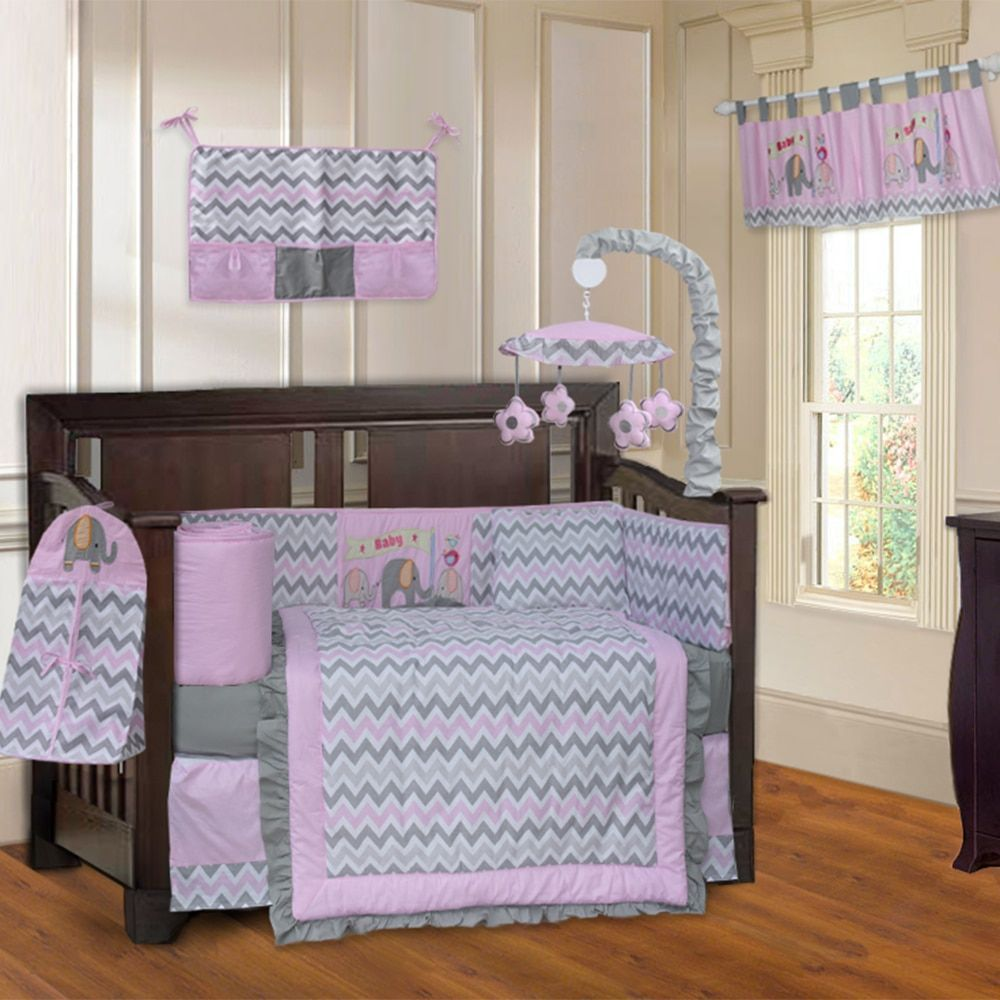 Babyfad Elephant Zigzag Pink 10 Piece Crib Bedding Set