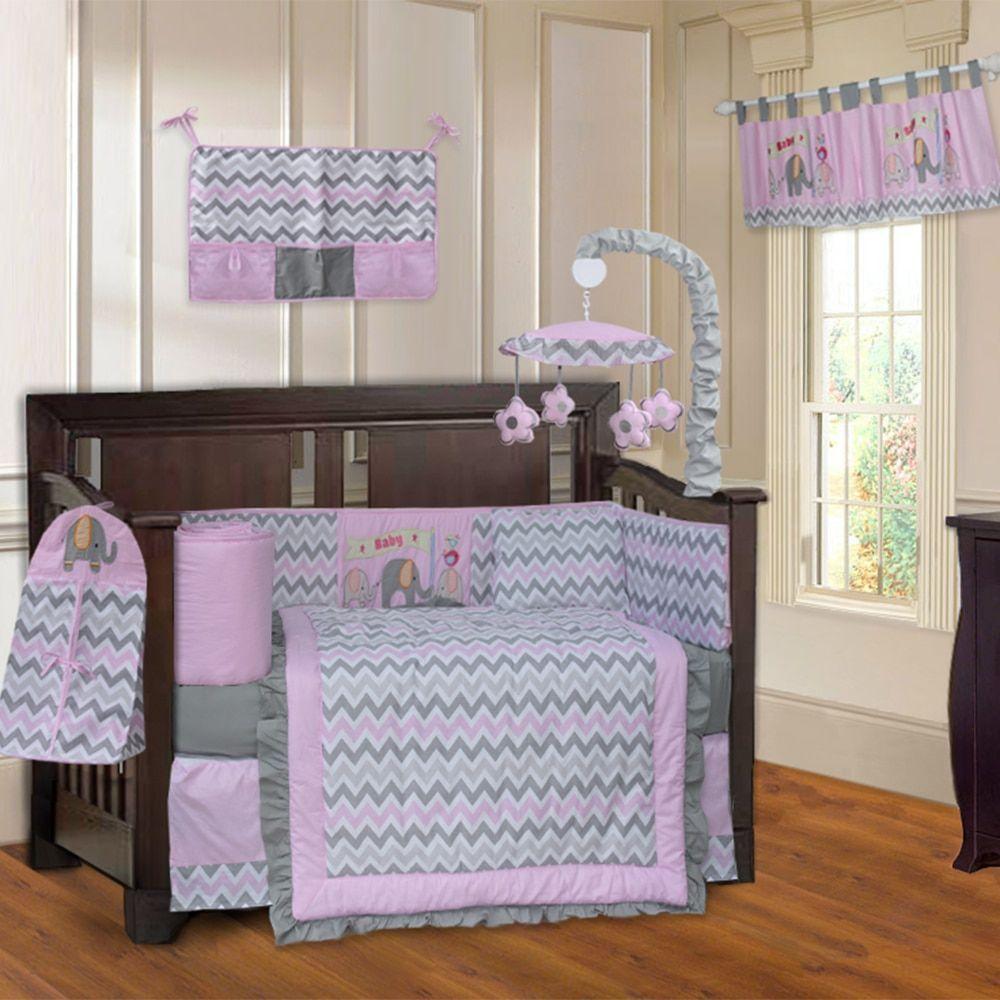 Babyfad Elephant Zigzag Pink 10 Piece Crib Bedding Set