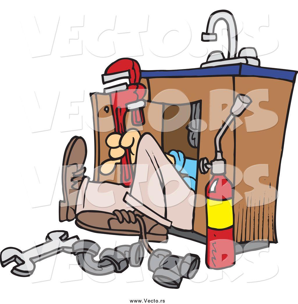 Vector Of A Cartoon Plumber Working Under A Sink Dengan Gambar