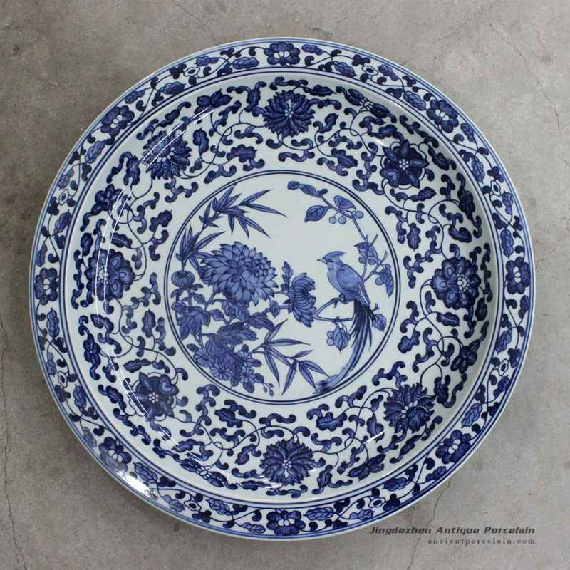Rzbd05 15 7 Hand Painted Blue White Chrysanthemum And Bird Porcelain Plate Plates Porcelain Plates White Porcelain