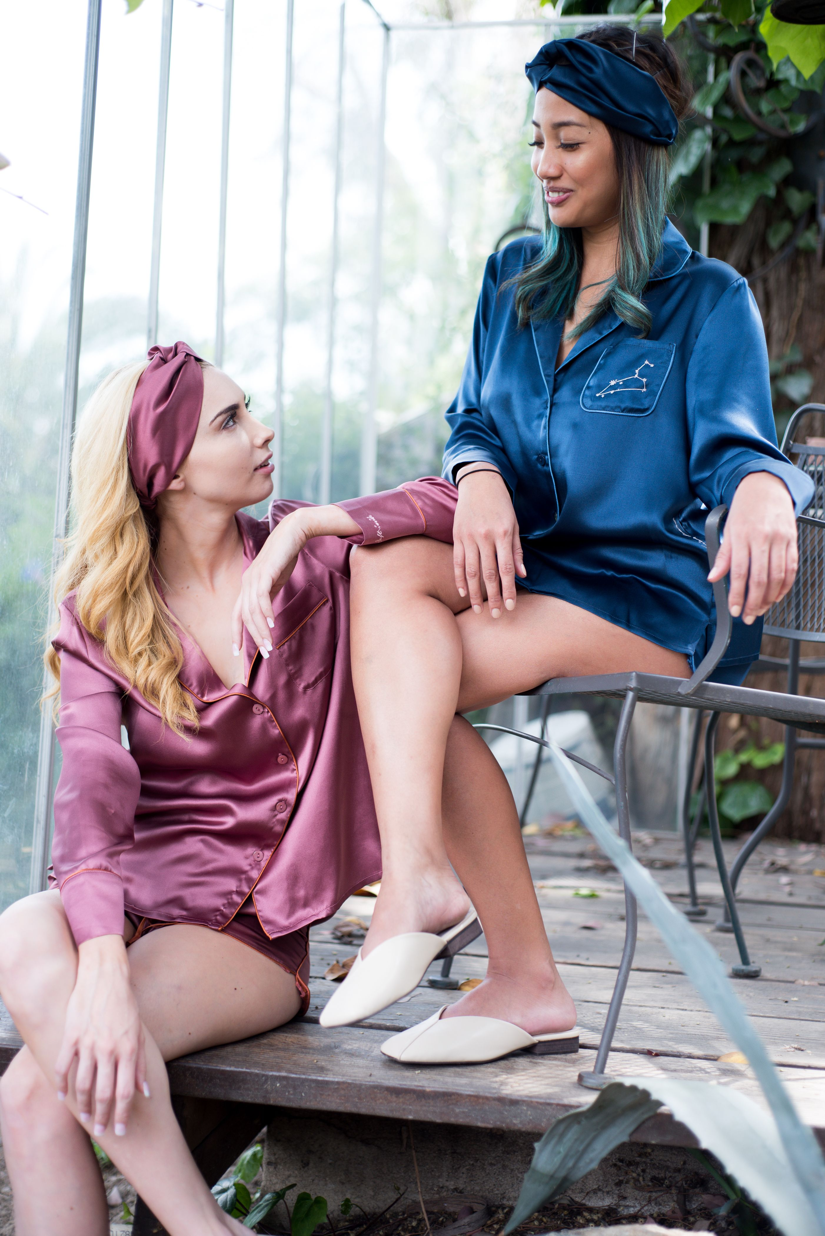 Self in Naked printed silk-satin Slip   Cloroom Pajamas